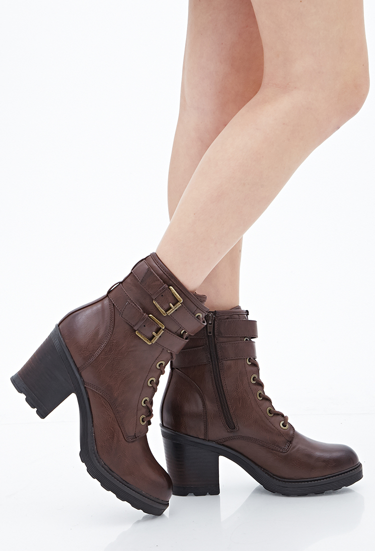 lyst forever 21 laceup combat boots in brown