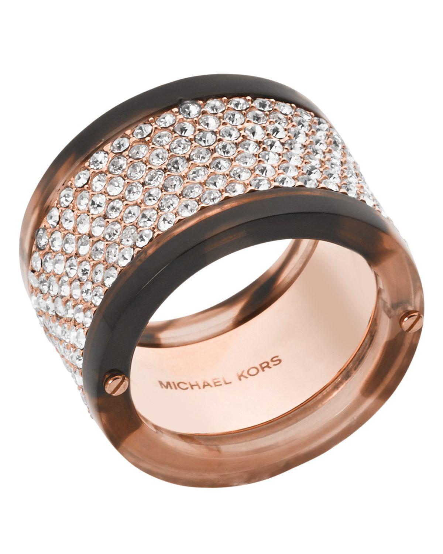 Lyst - Michael Kors Pavé Blush Acetate Ring in Metallic - photo#46