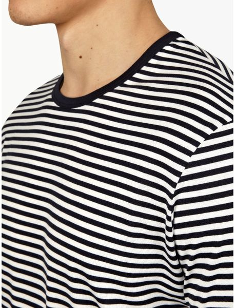 Sunspel mens navy blue striped long sleeve tshirt in blue for Navy blue striped long sleeve shirt