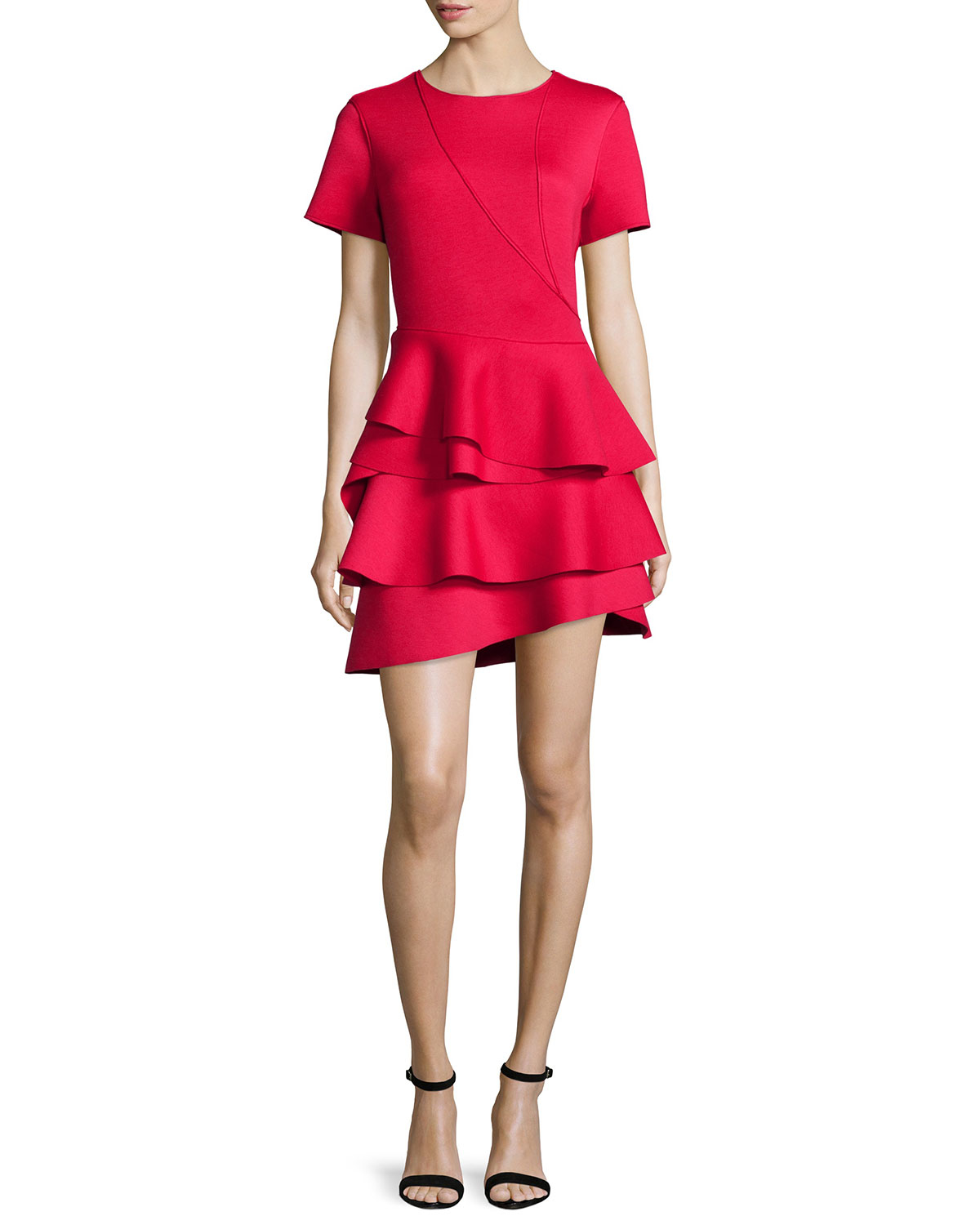 Lyst Dkny Short Sleeve Ruffle Skirt Dress In Red