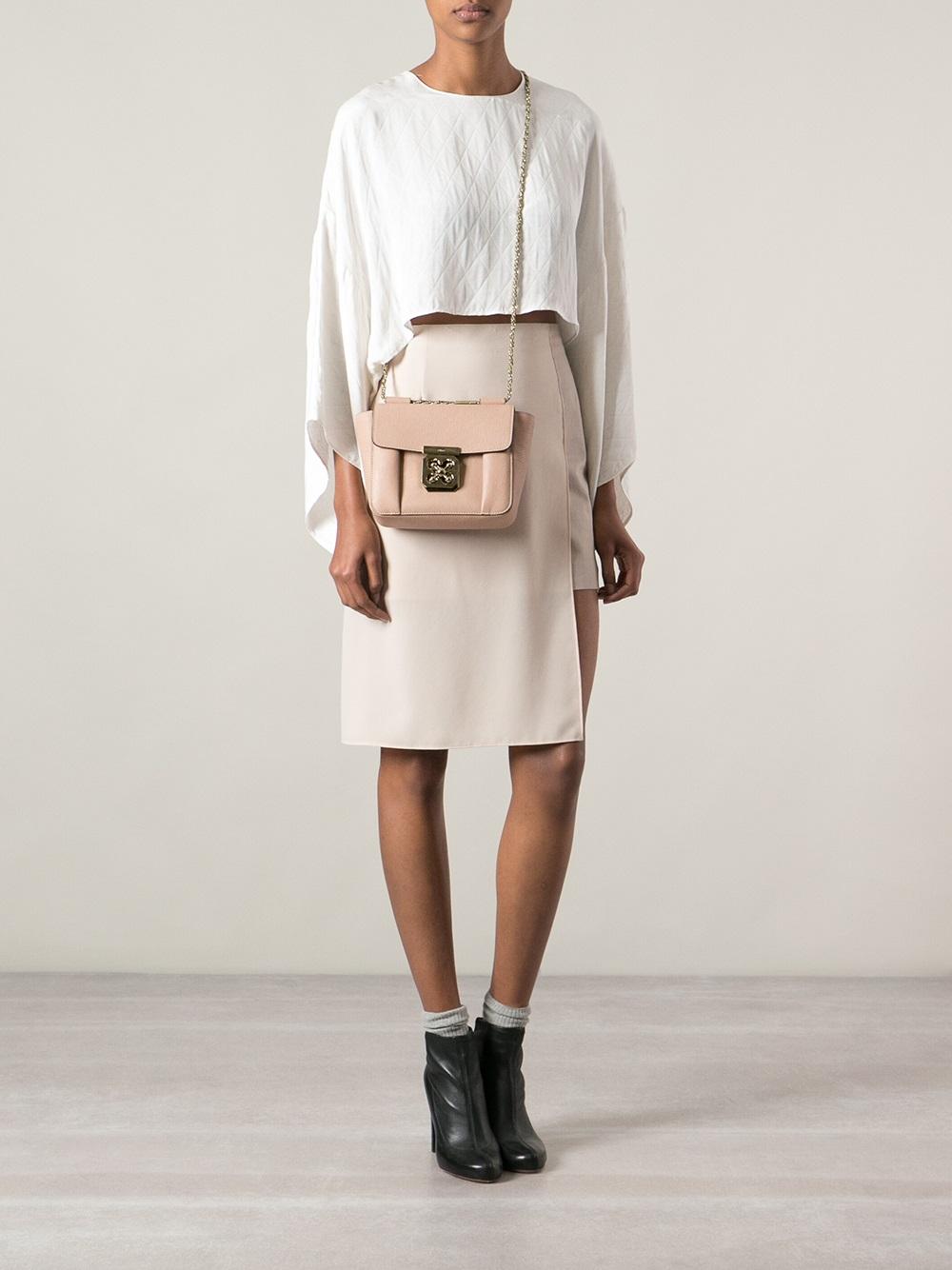 Chlo�� Small \u0026#39;Elsie\u0026#39; Shoulder Bag in Pink (nude \u0026amp; neutrals) | Lyst