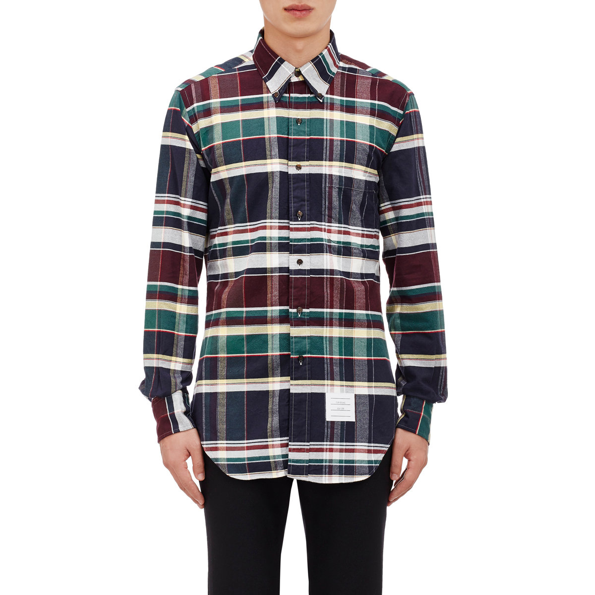 Lyst thom browne madras oxford cloth shirt size 1 for men for Thom browne shirt sale