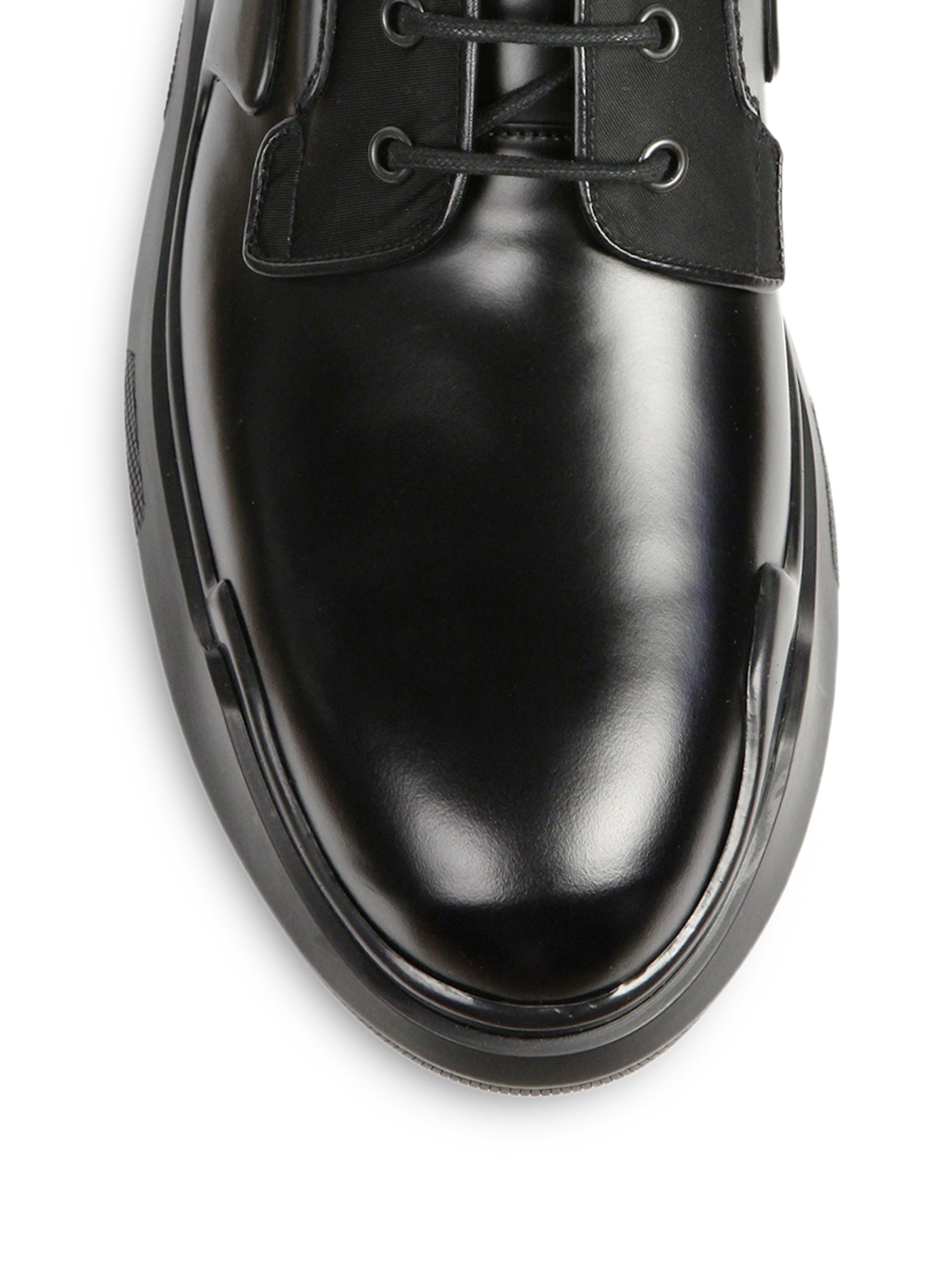prada black leather lace-up wingtip oxfords