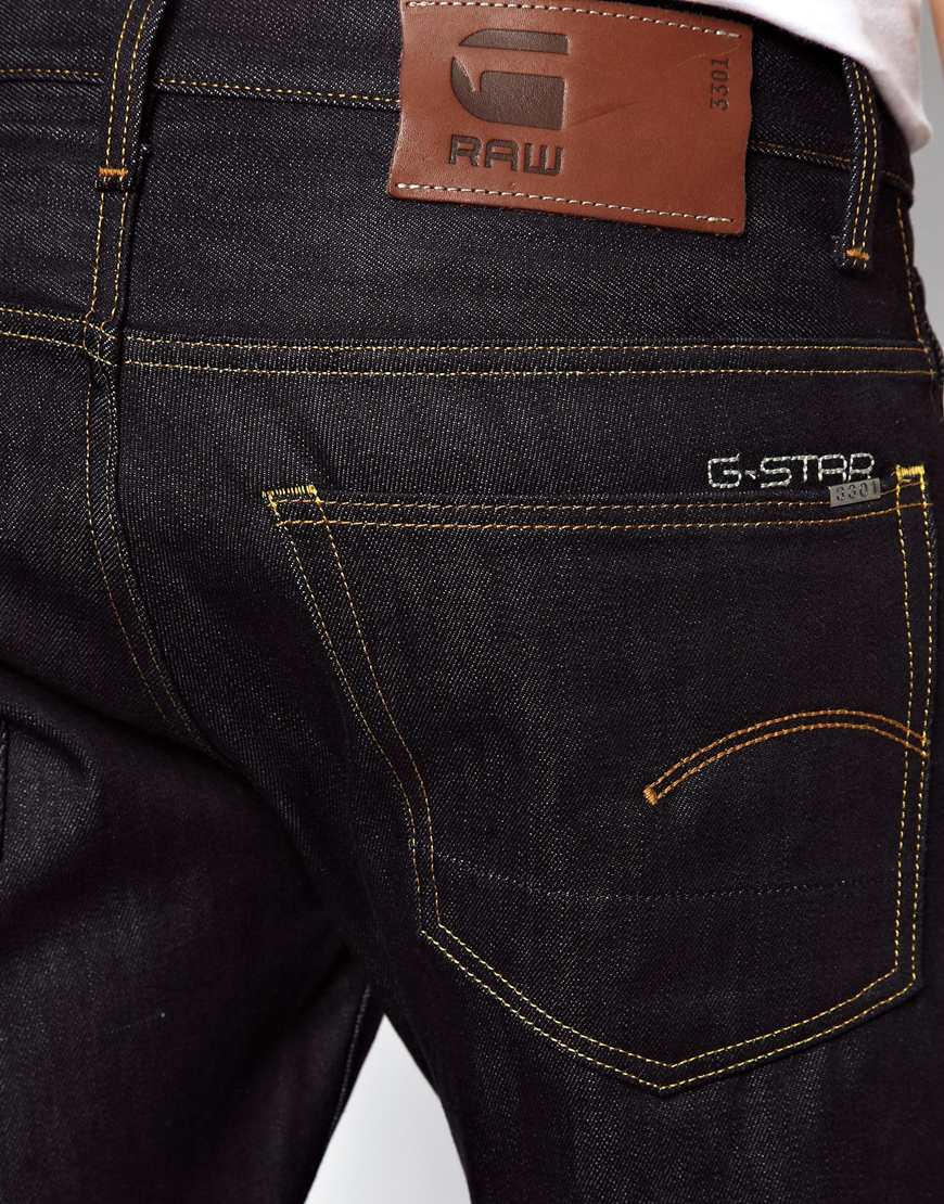 star raw g star jeans 3301 straight fit raw in black for men lyst. Black Bedroom Furniture Sets. Home Design Ideas