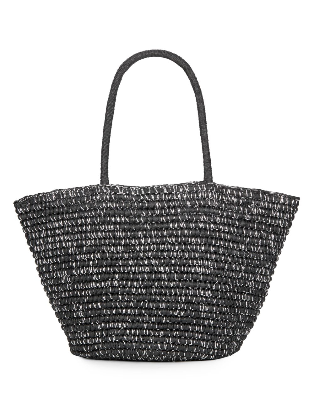 Lyst Saks Fifth Avenue Metallic Straw Tote In Black