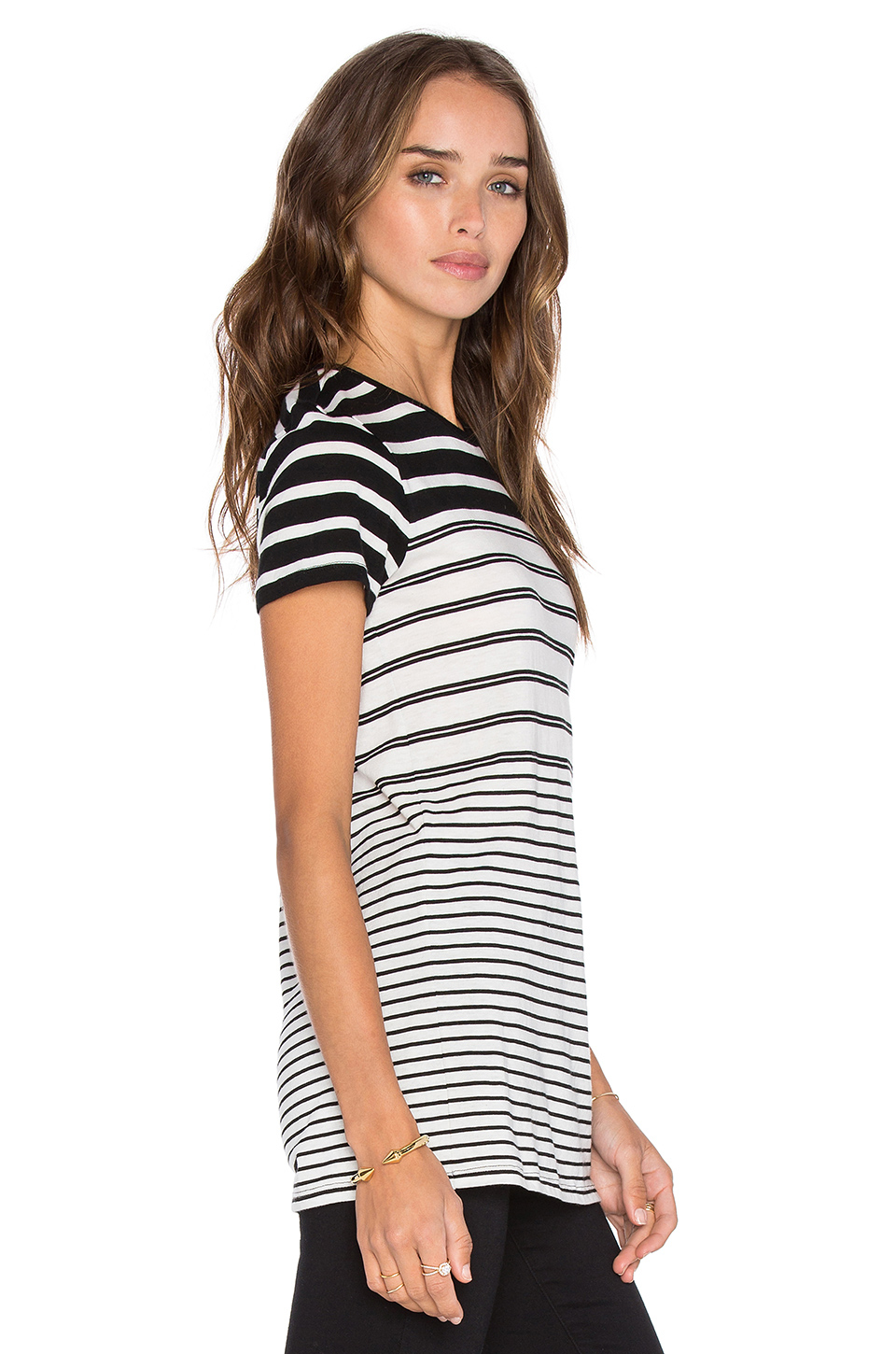 Vince short sleeve engineered stripe tee in gray lyst for Vince tee shirts sale
