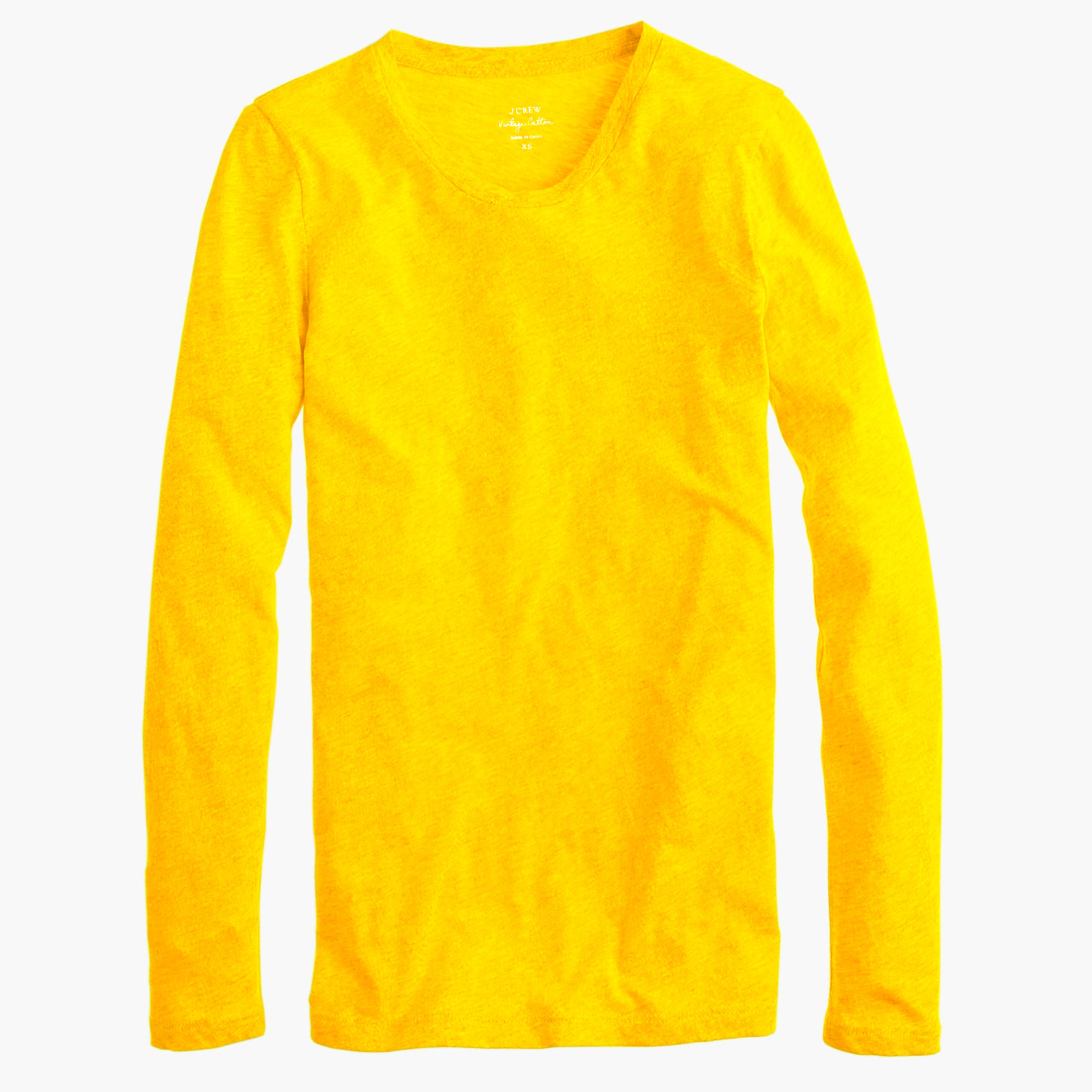 Vintage Cotton Long Sleeve T Shirt In Yellow