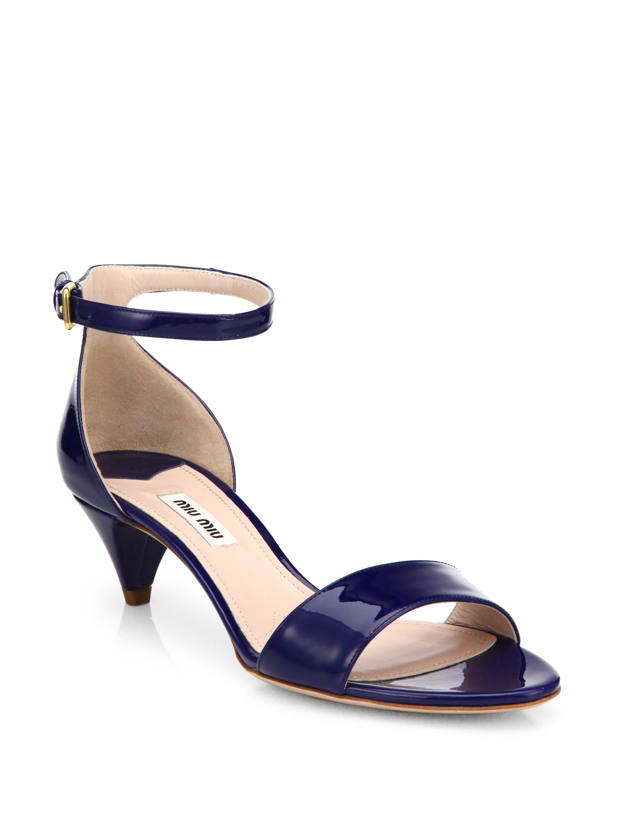 f344653cb94 Lyst - Miu Miu Patent Leather Kitten Heel Sandals in Blue