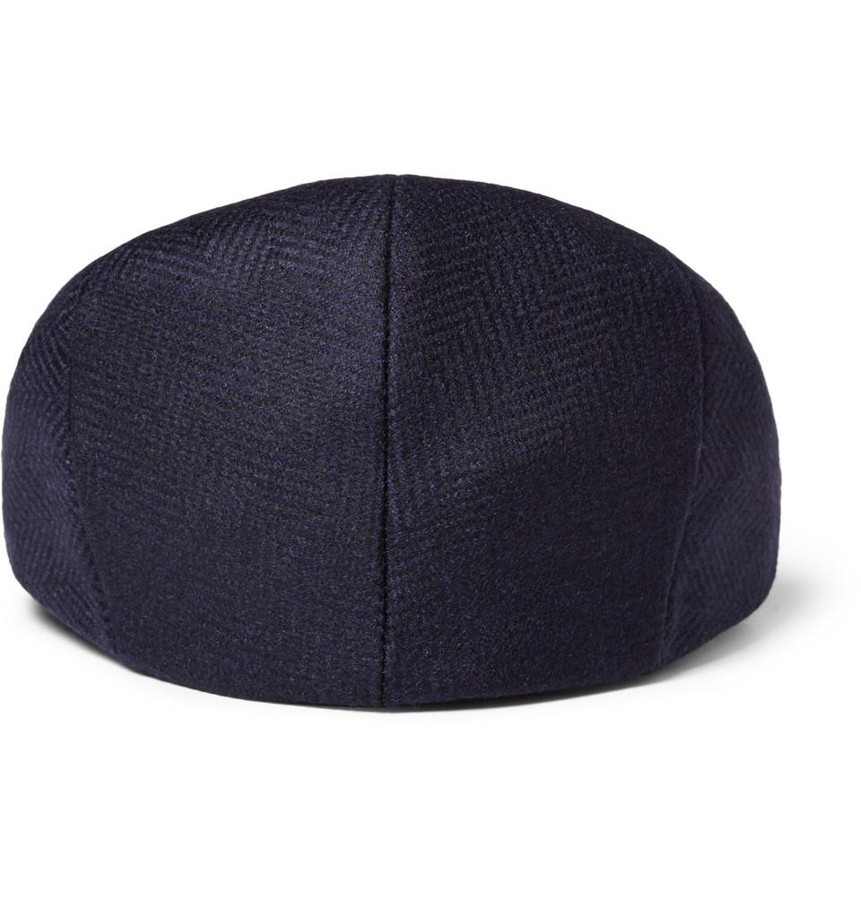 Kingsman Lock Amp Co Herringbone Wool Flat Cap In Blue For