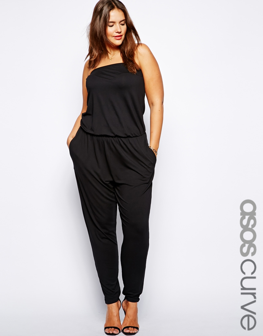 Asos Exclusive Bandeau Jumpsuit With Peg Leg in Black | Lyst