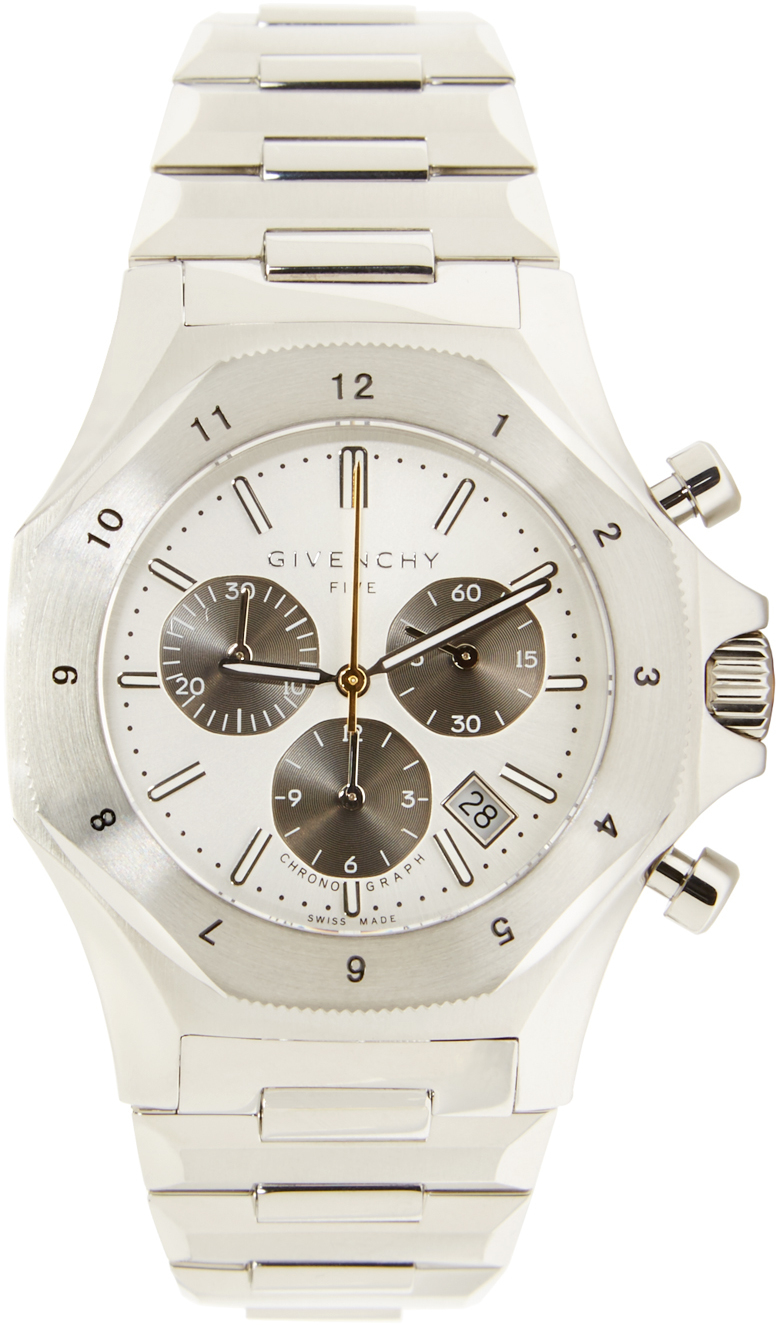 Givenchy silver five watch in metallic for men lyst for Givenchy watches