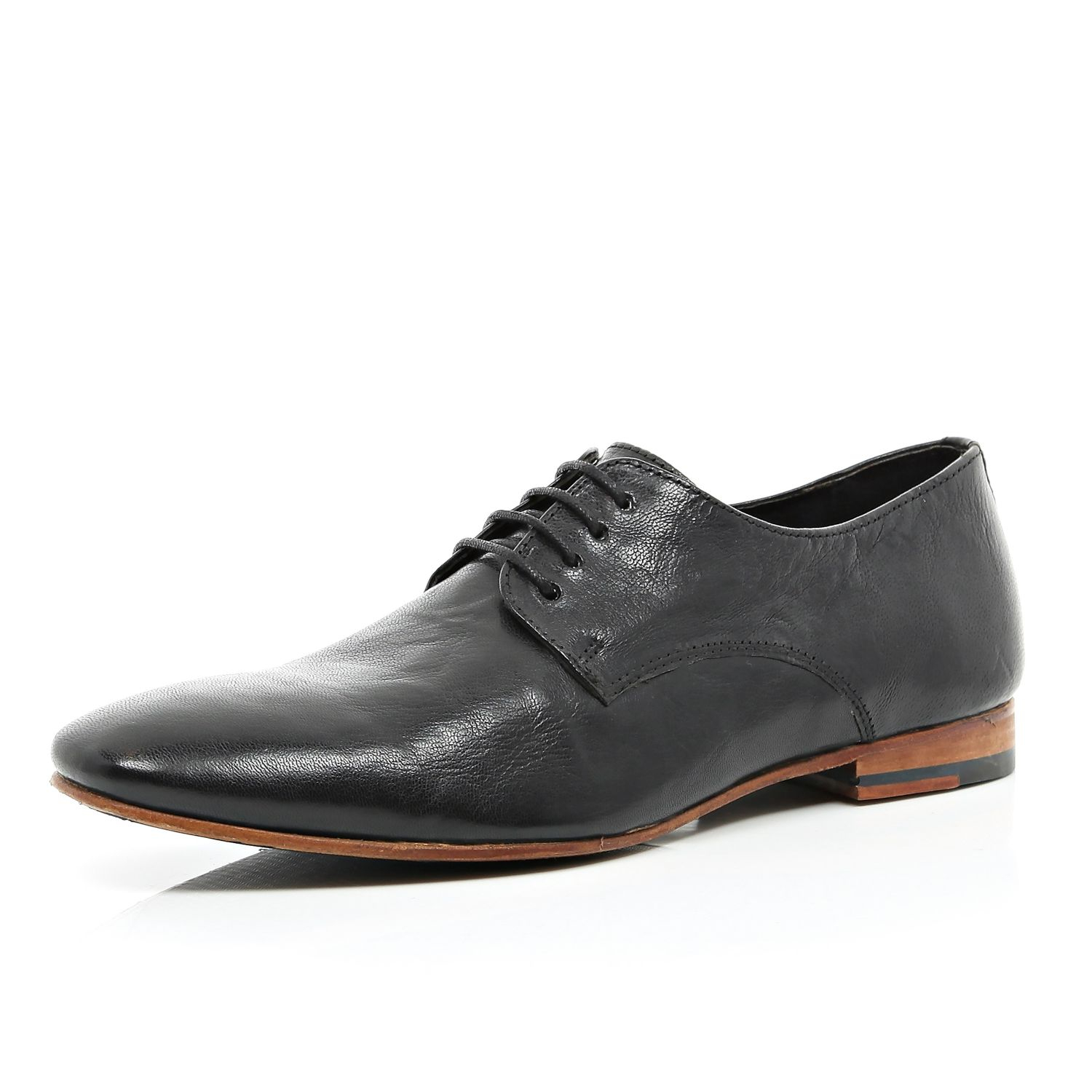 river island black high shine leather formal shoes in