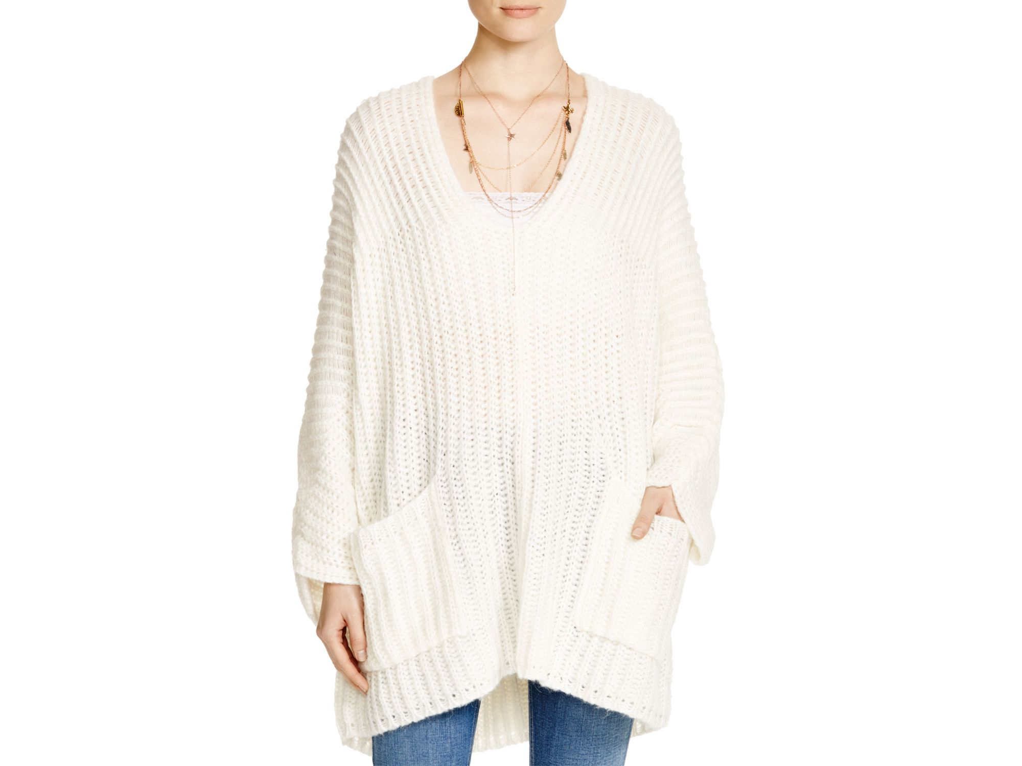 Free people Ribbed Knit Boyfriend Sweater in White | Lyst