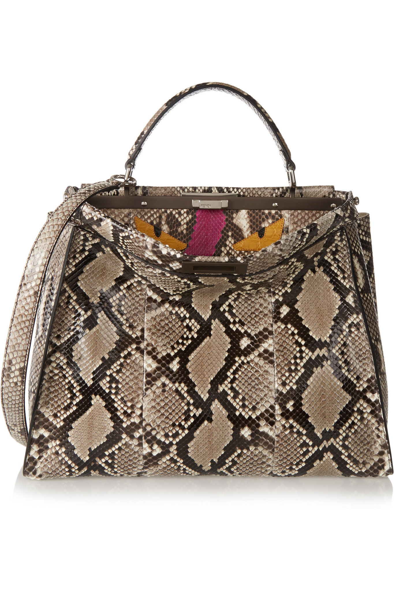 52ca8ffcf1 Fendi Peekaboo Large Python And Crocodile Tote - Lyst