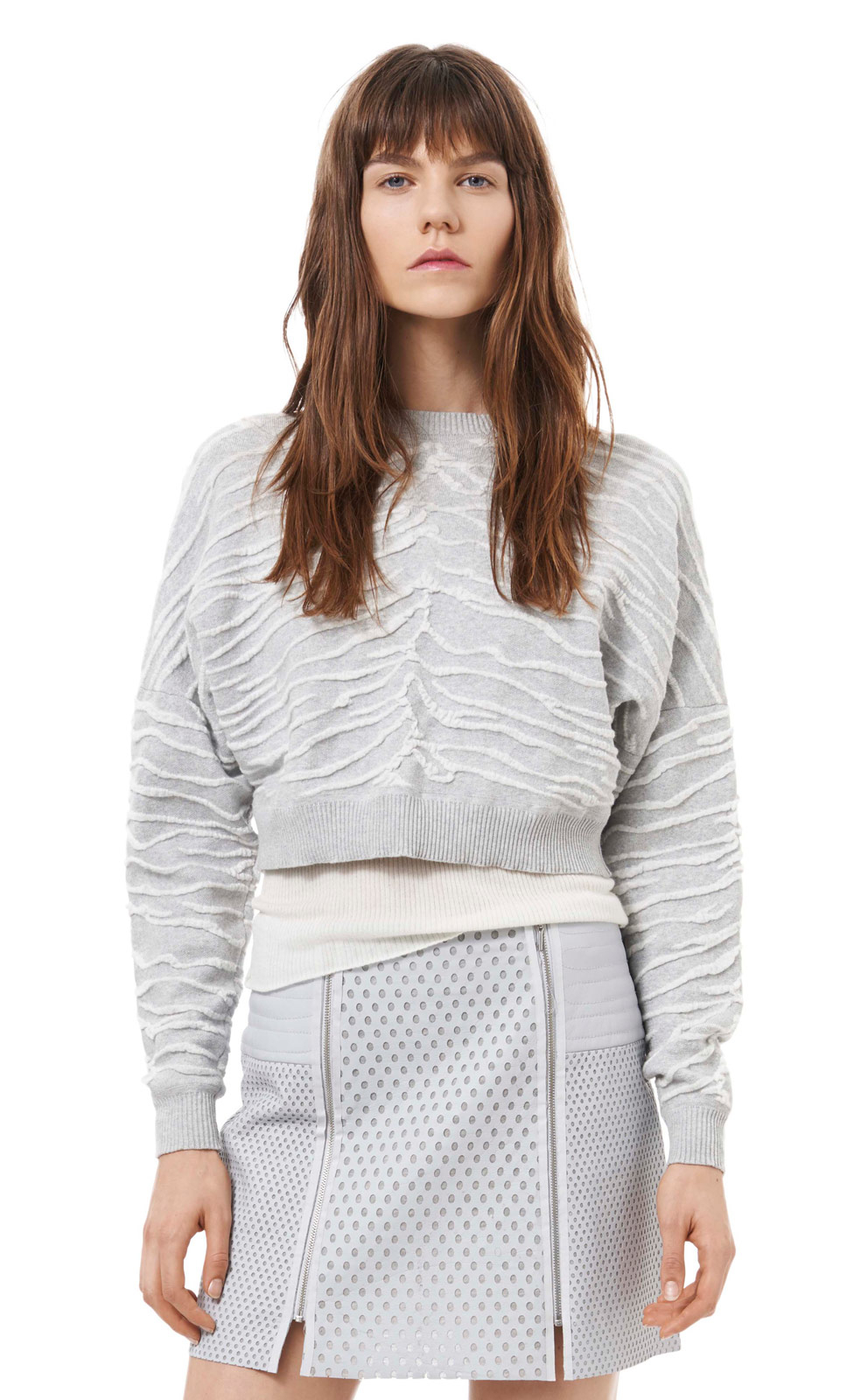 Rebecca taylor Zebra Jacquard Cropped Sweater in Gray | Lyst
