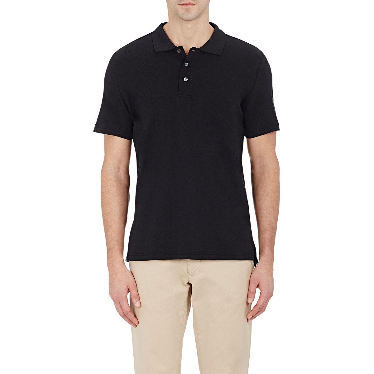 Piattelli Men 39 S Pique Polo Shirt In Black For Men Lyst
