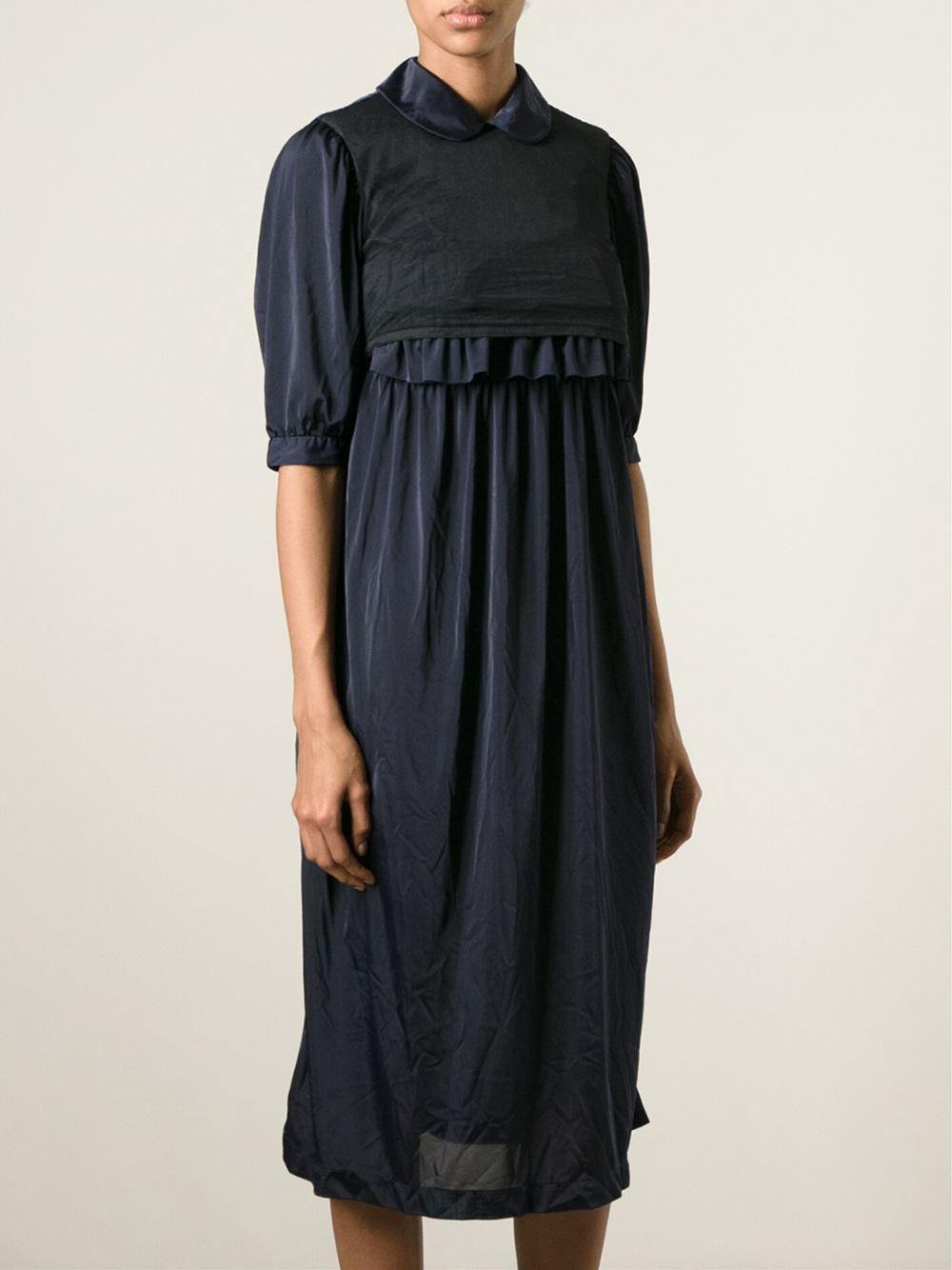 comme des gar ons frill detail dress in blue lyst. Black Bedroom Furniture Sets. Home Design Ideas