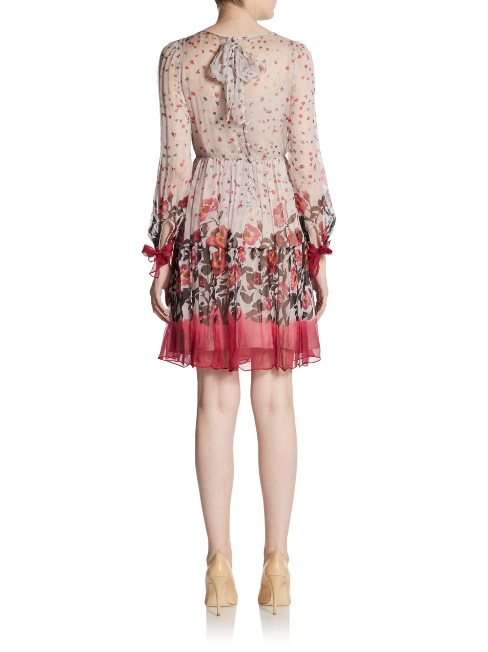 3c83e9d7f8bb RED Valentino Floral-print Silk Chiffon Dress in Purple - Lyst