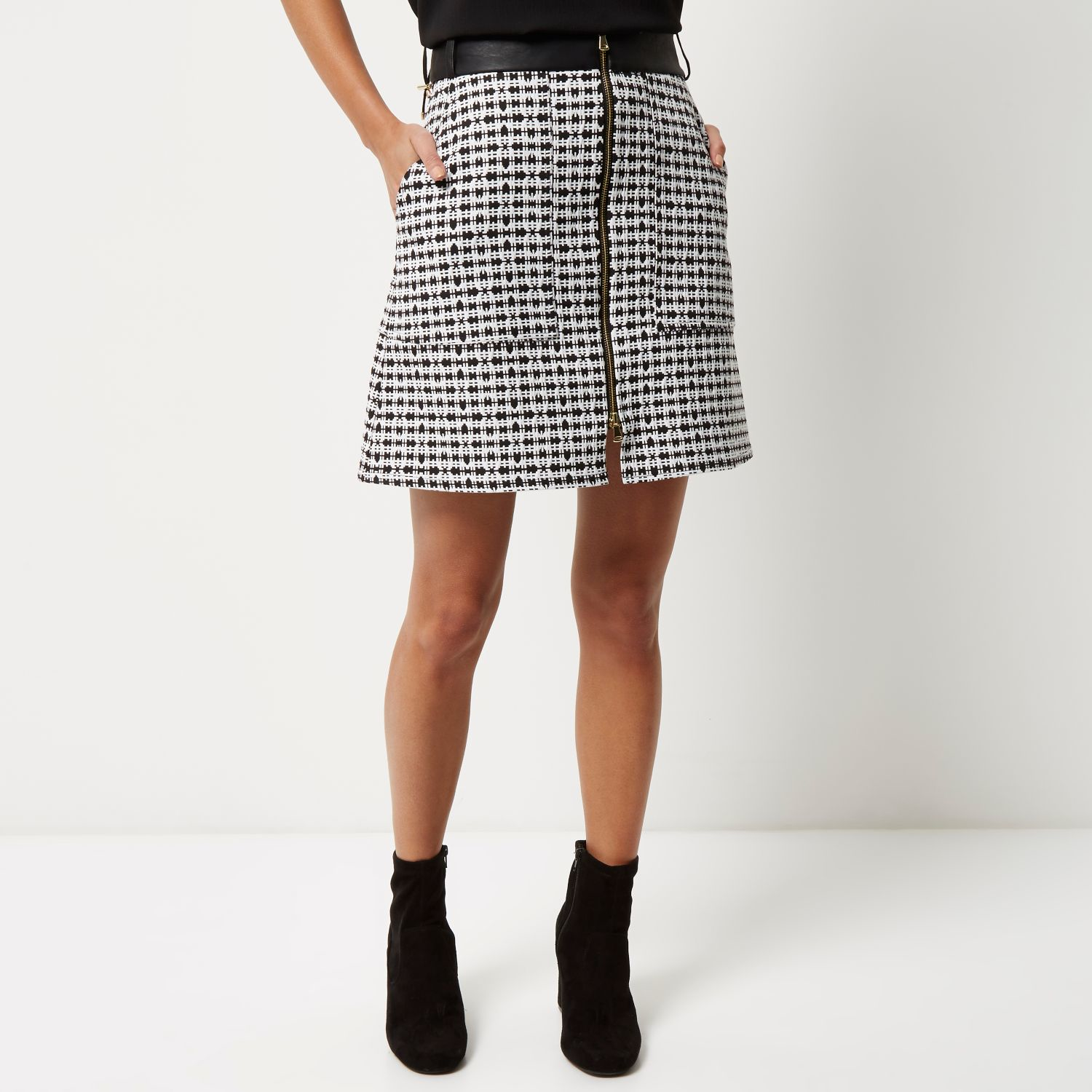 Black Mini A Line Skirt