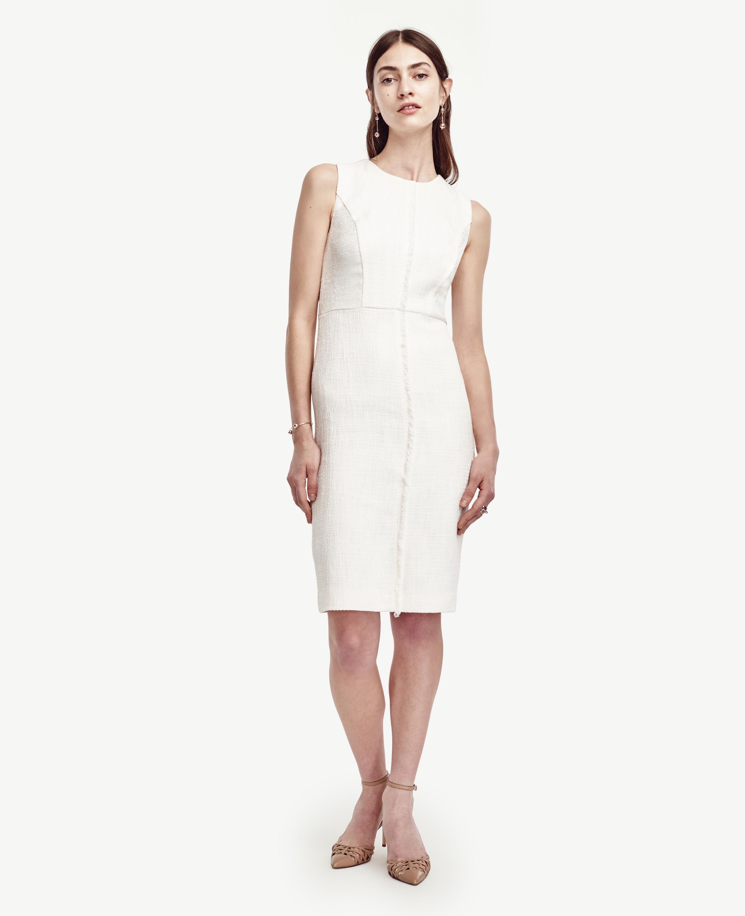 a41006293f0 Lyst Ann Taylor Pee Tweed Fringe Sheath Dress In White. Sydne Style Kate  Hudson Ann Taylor White Dress Rose Gold Sandals Platforms