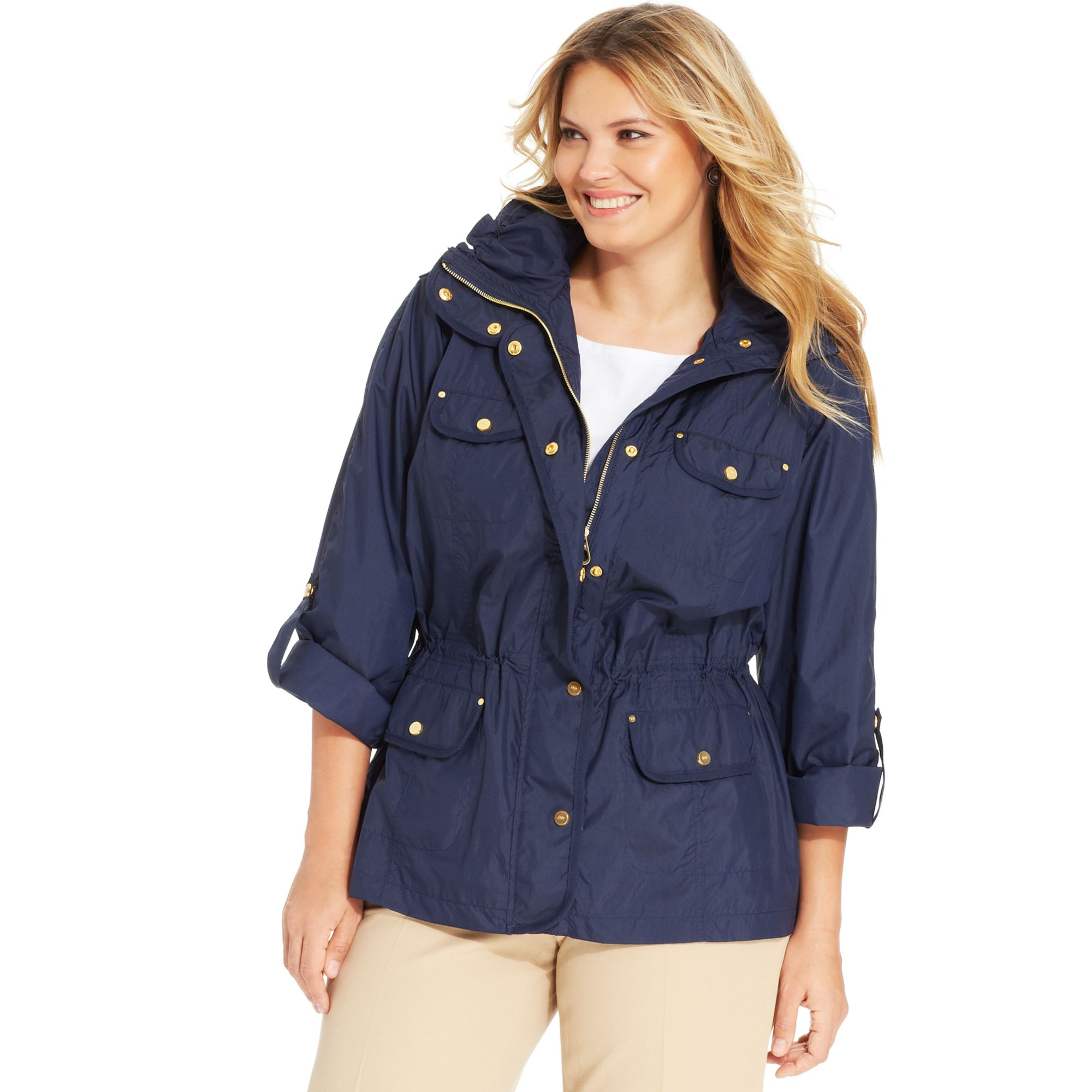 jones new york signature plus size anorak jacket in blue | lyst
