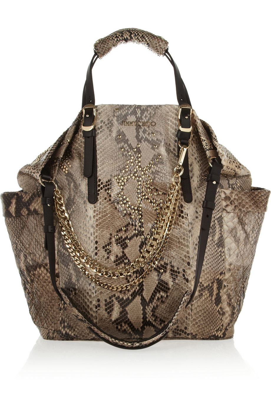 Jimmy Choo Blare Leathertrimmed Studded Python Tote In