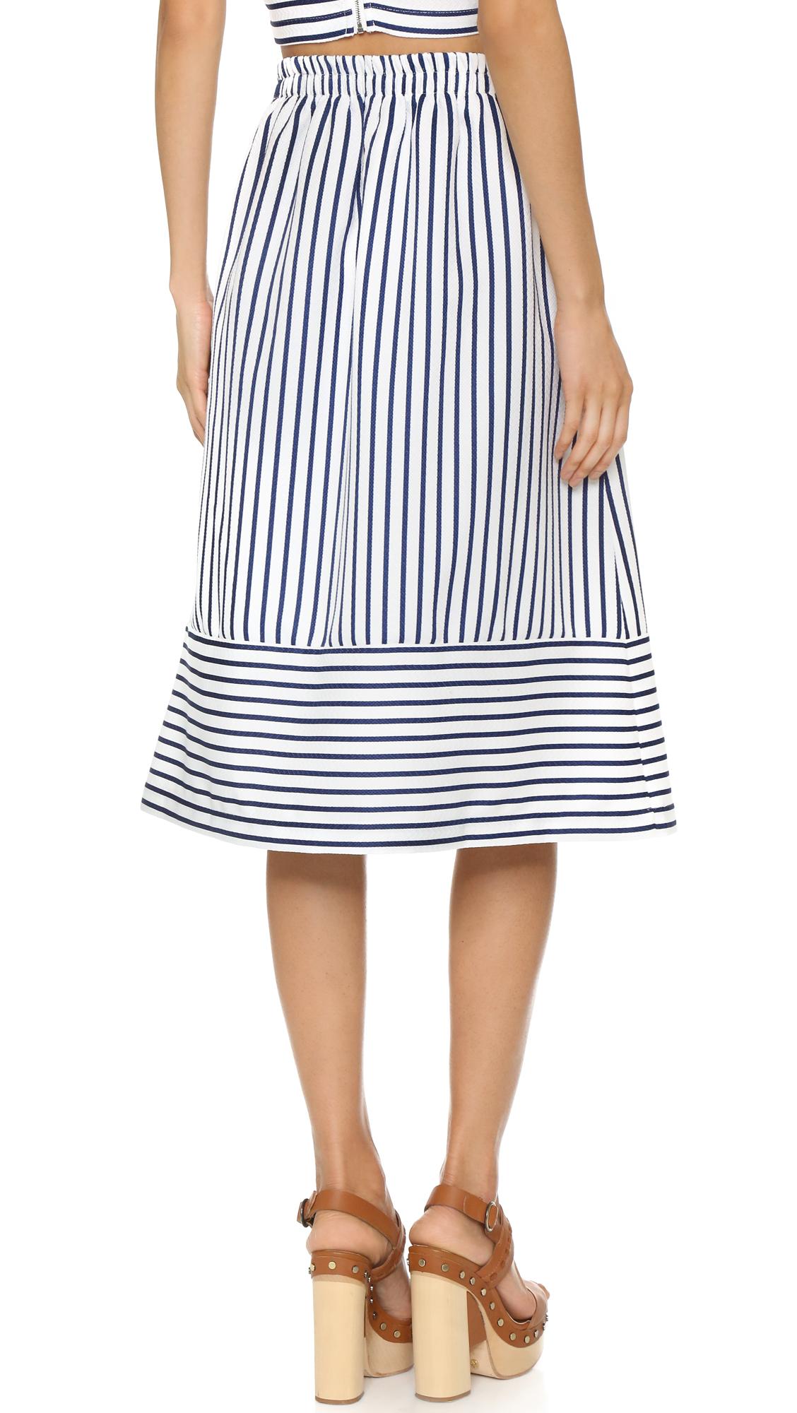 joa stripe midi skirt in blue cobalt lyst