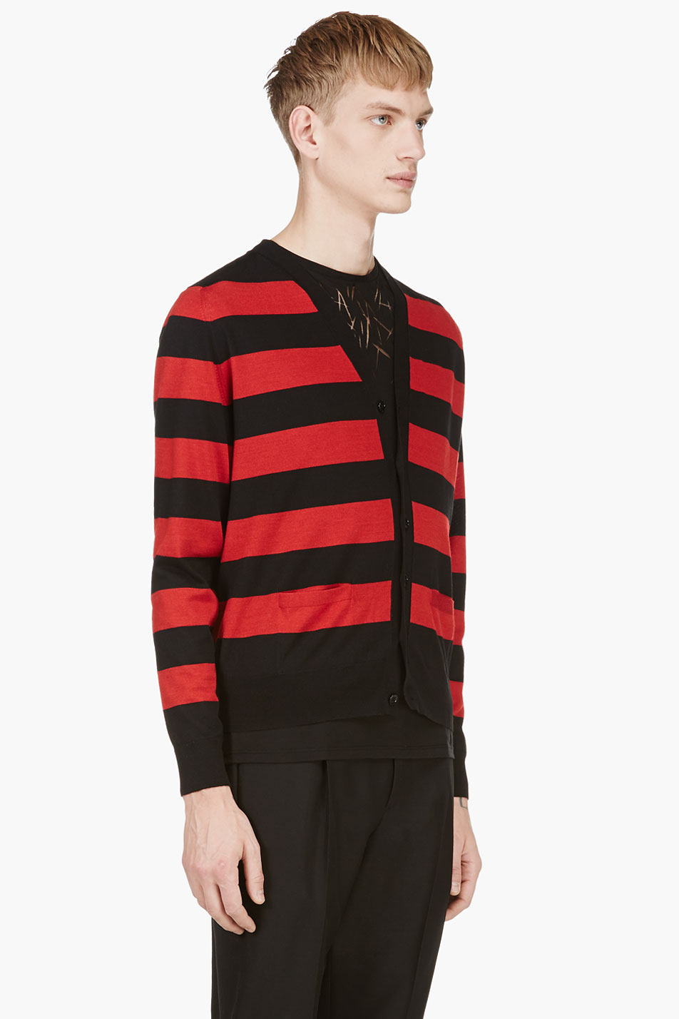 Saint laurent Red and Black Striped Y_front Cardigan in Red for ...