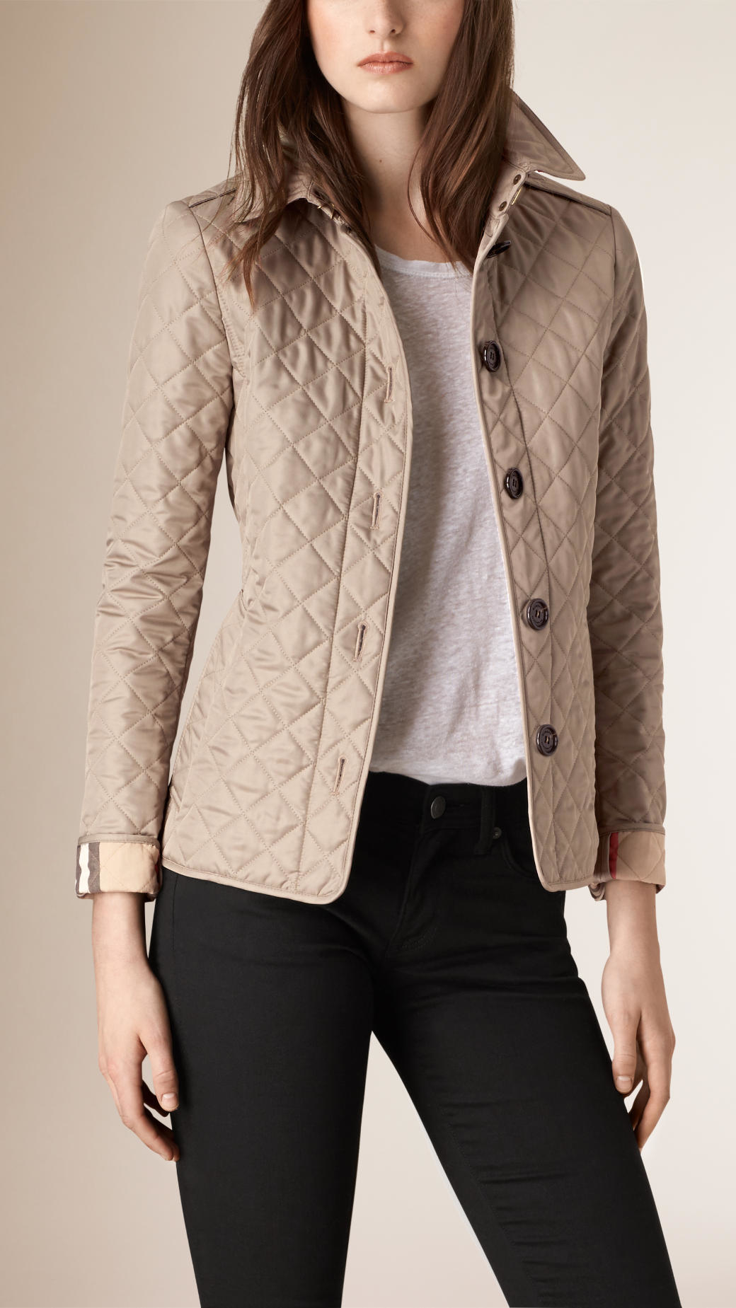 Burberry Diamond Quilted Jacket In Natural Lyst