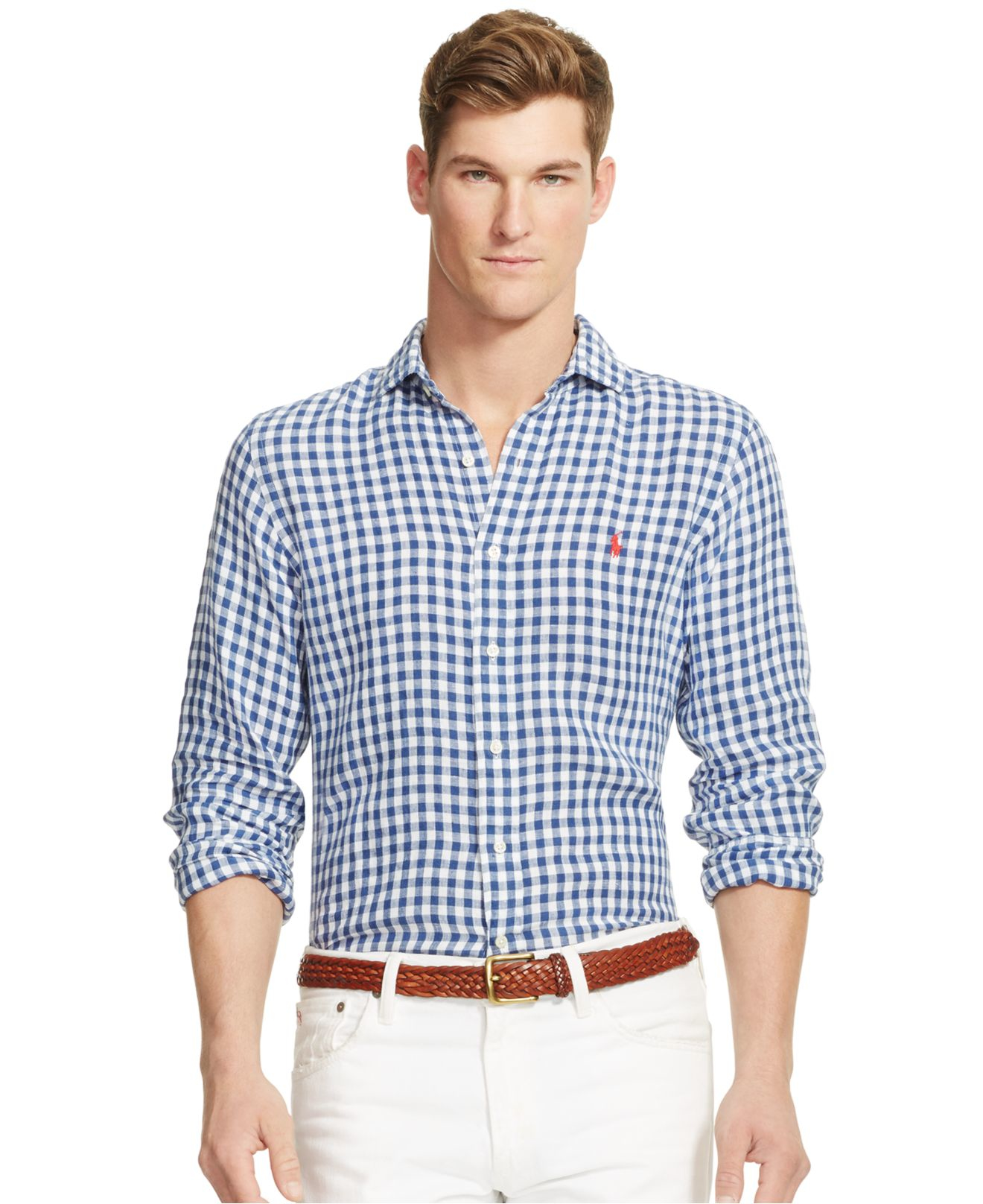 Polo ralph lauren shirt in slim fit blue gingham check in for Mens blue gingham shirt