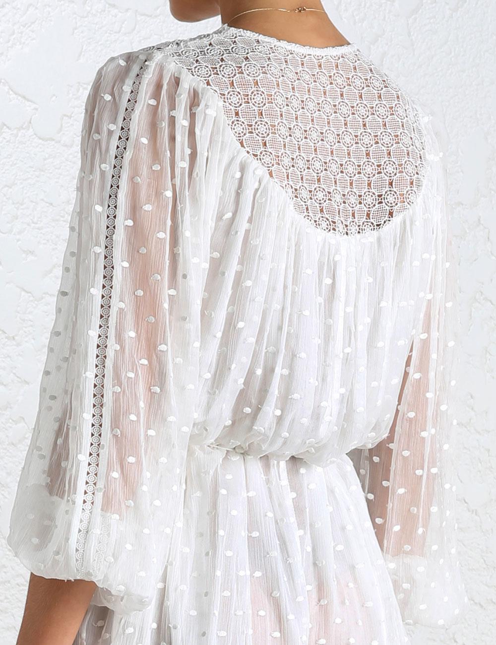 673c17e9ad7d Lyst - Zimmermann Belle Web Dot Playsuit in White