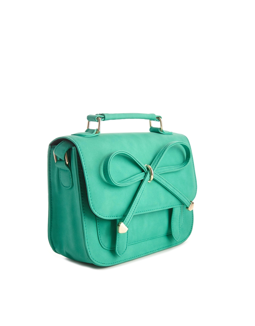 Asos Bow Satchel Bag in Green | Lyst