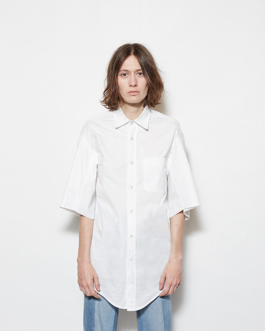 Lyst vetements short sleeve button up shirt in white for Short sleeve button up shirts
