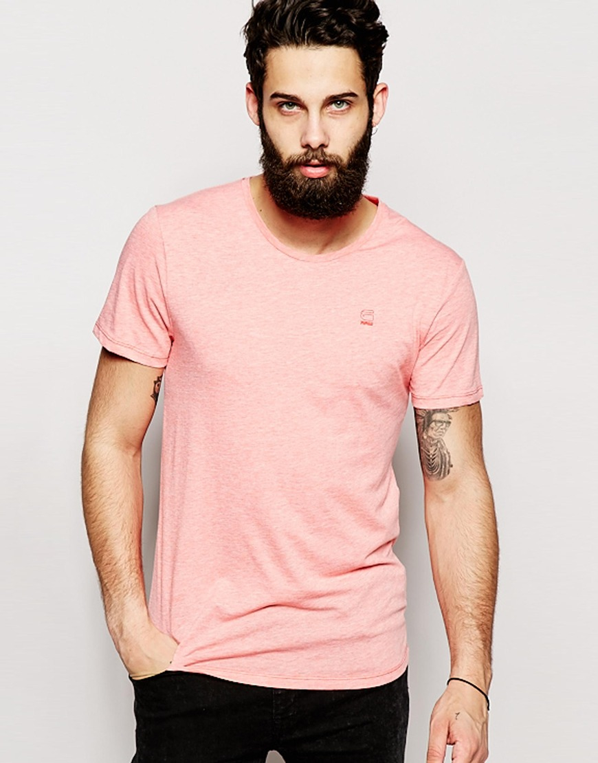 a55e75a14bf G-Star RAW T-shirt Mikan Basic Small Logo in Pink for Men - Lyst