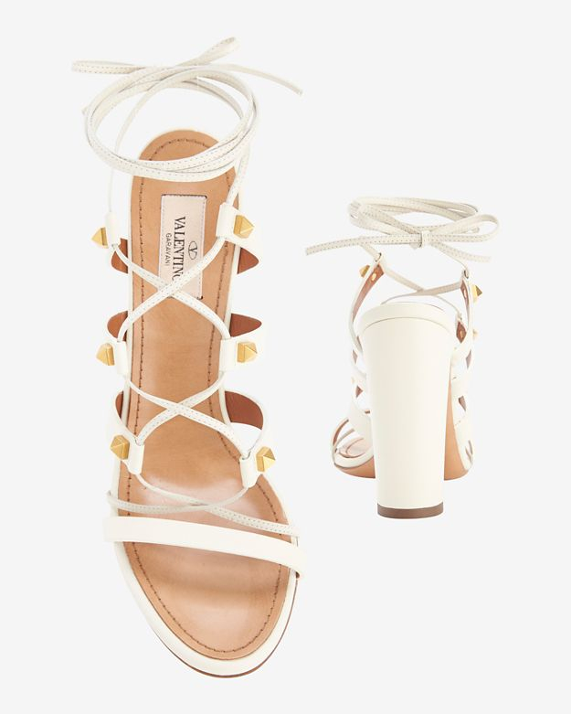 Valentino Rockstud Chunky Heel Lace Up Gladiator Sandals in White