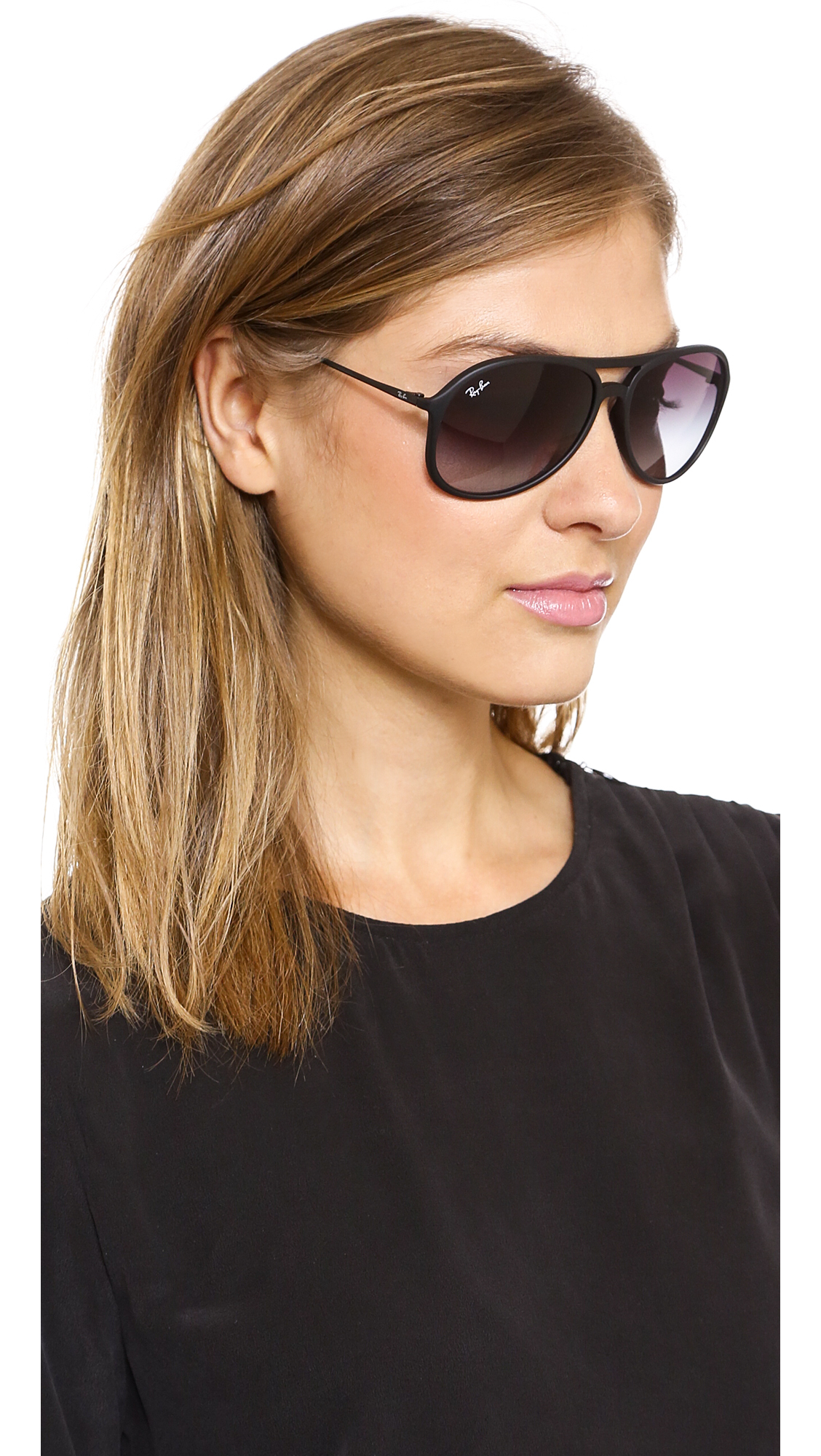b088d31bf9e Buy Ray-Ban Women s Black Youngster Rubber Aviator Sunglasses