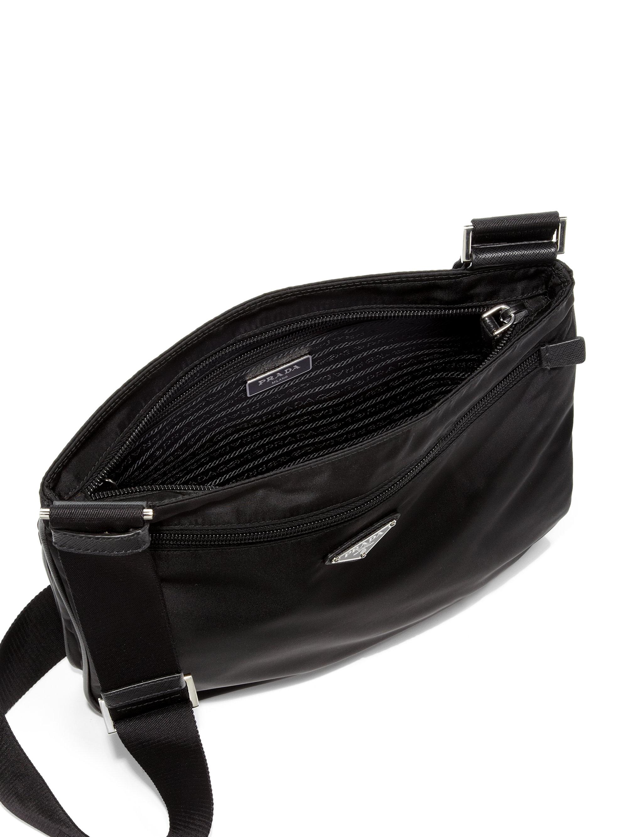 Prada Nylon Messenger Bag in Black for Men | Lyst