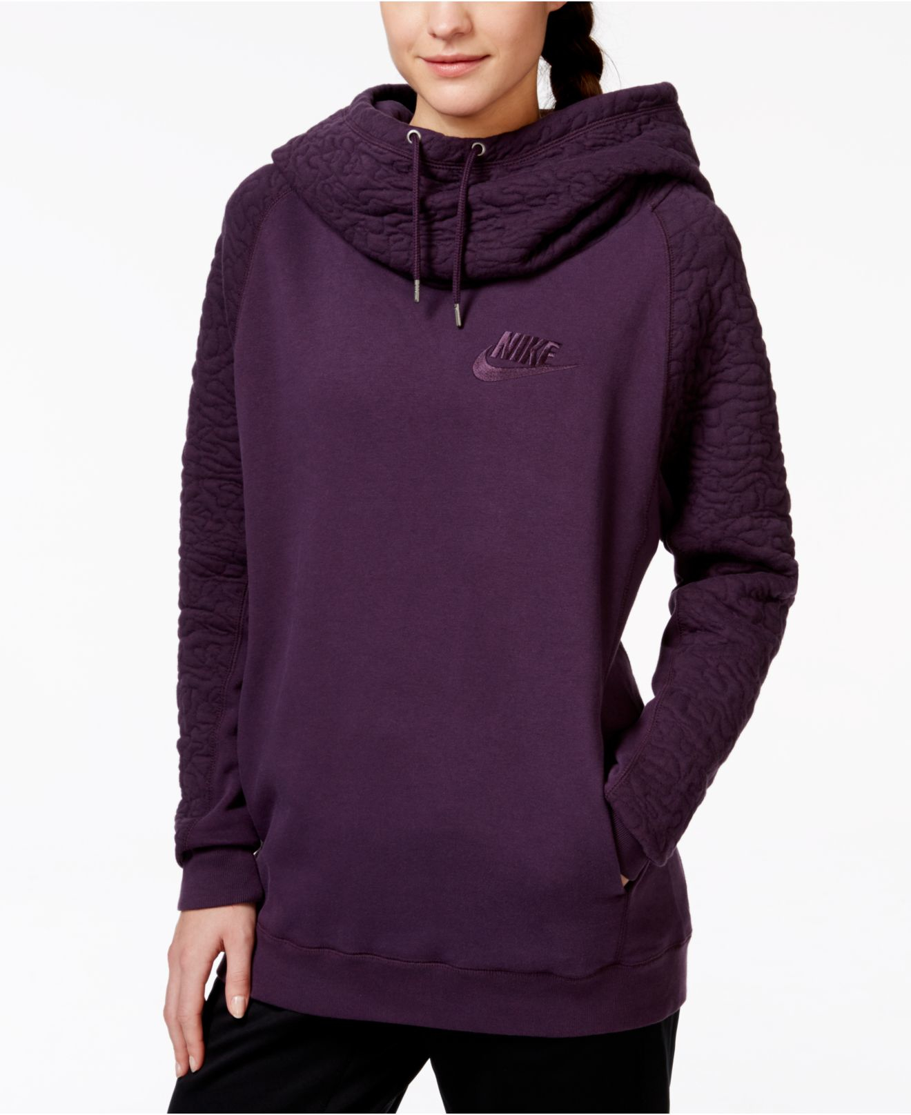 15ea1aafe5e6 Lyst - Nike Rally Quilted Pullover Hoodie in Purple