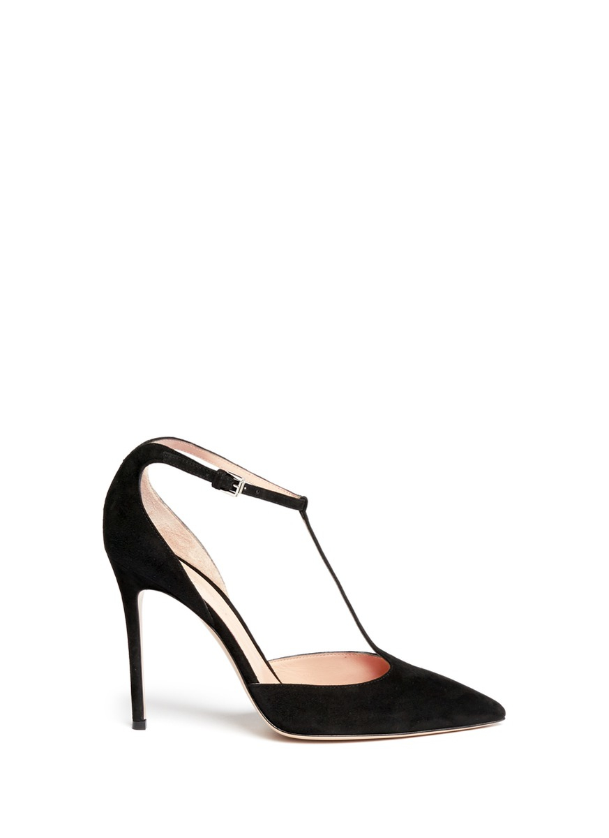 356d58f66bca Gianvito Rossi  romy  T-bar Suede Pumps in Black - Lyst