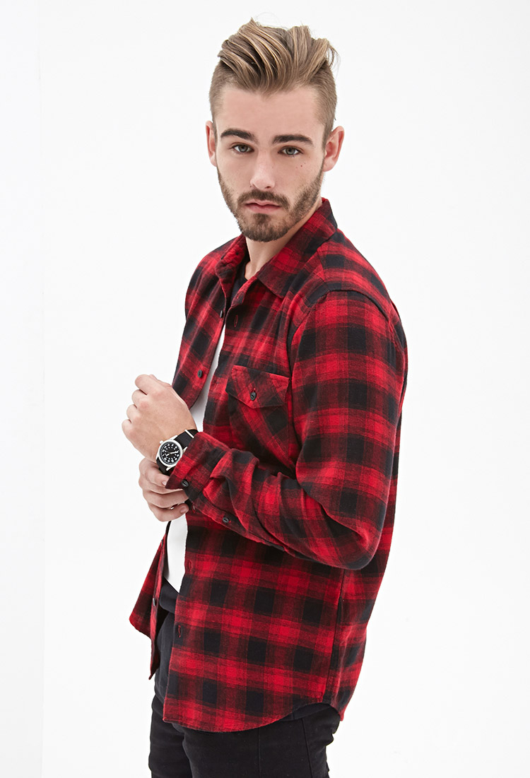 Lyst forever 21 blurred plaid flannel shirt in red for men for Mixed plaid shirt mens