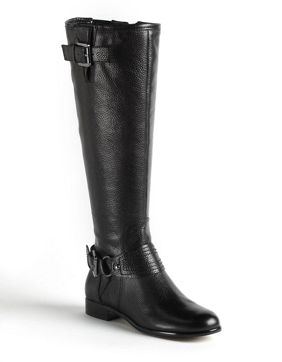 enzo angiolini visco leather boots in black black