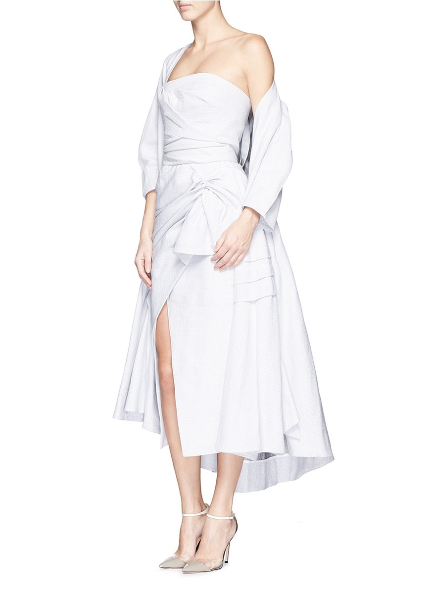 Maticevski Contoured Ruched Cotton Linen Strapless Dress