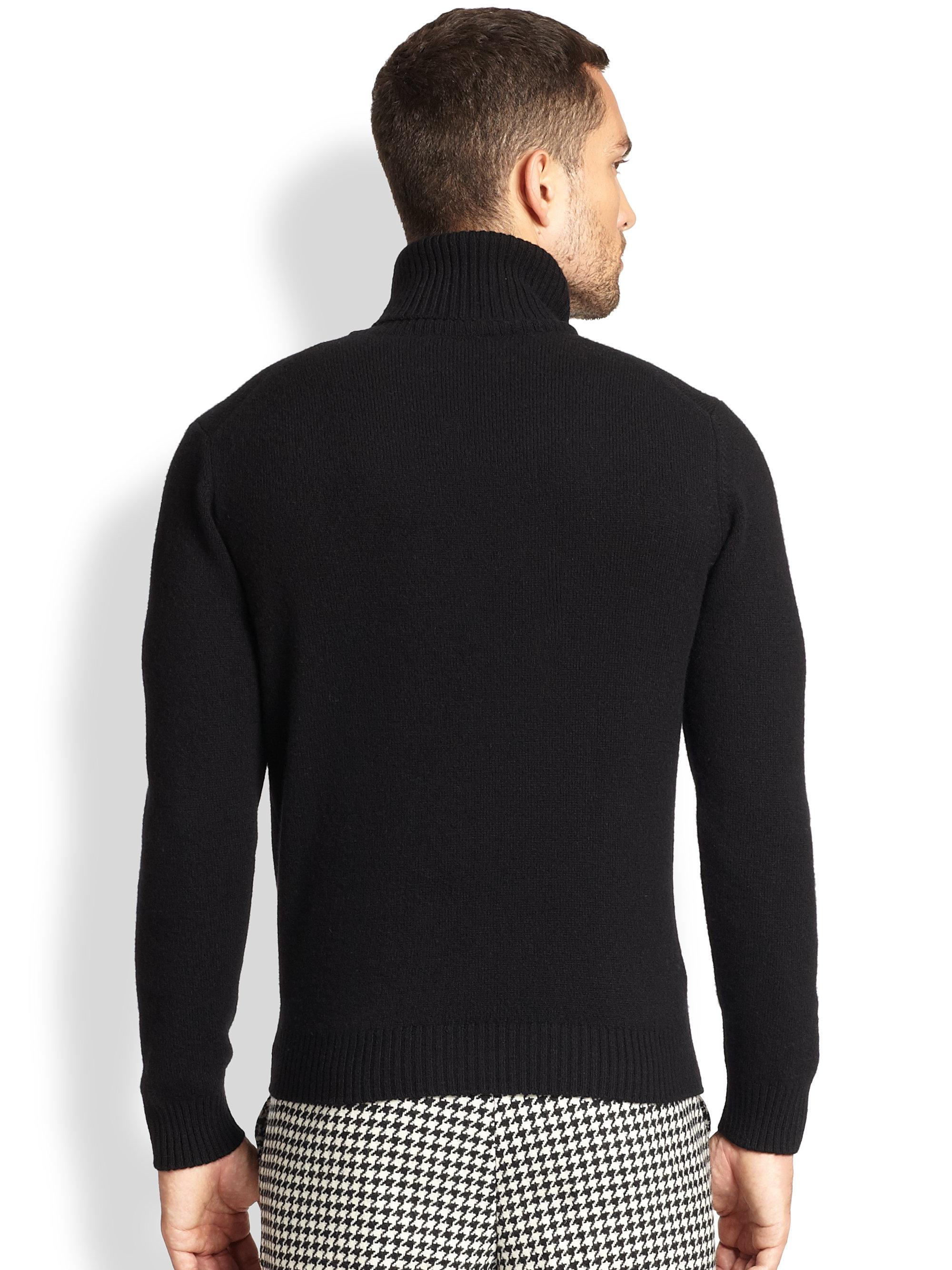 Ami Wool Turtleneck Sweater In Black For Men Lyst