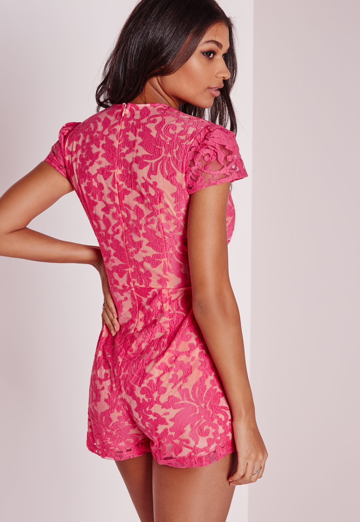152b09e9d1 Lyst - Missguided Floral Lace Plunge Playsuit Fuschia in Pink