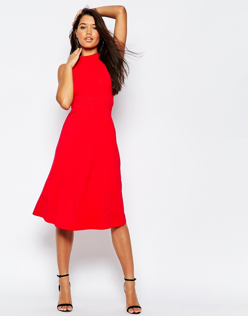 Lyst - Asos Midi Skater Dress With High Neck in Red
