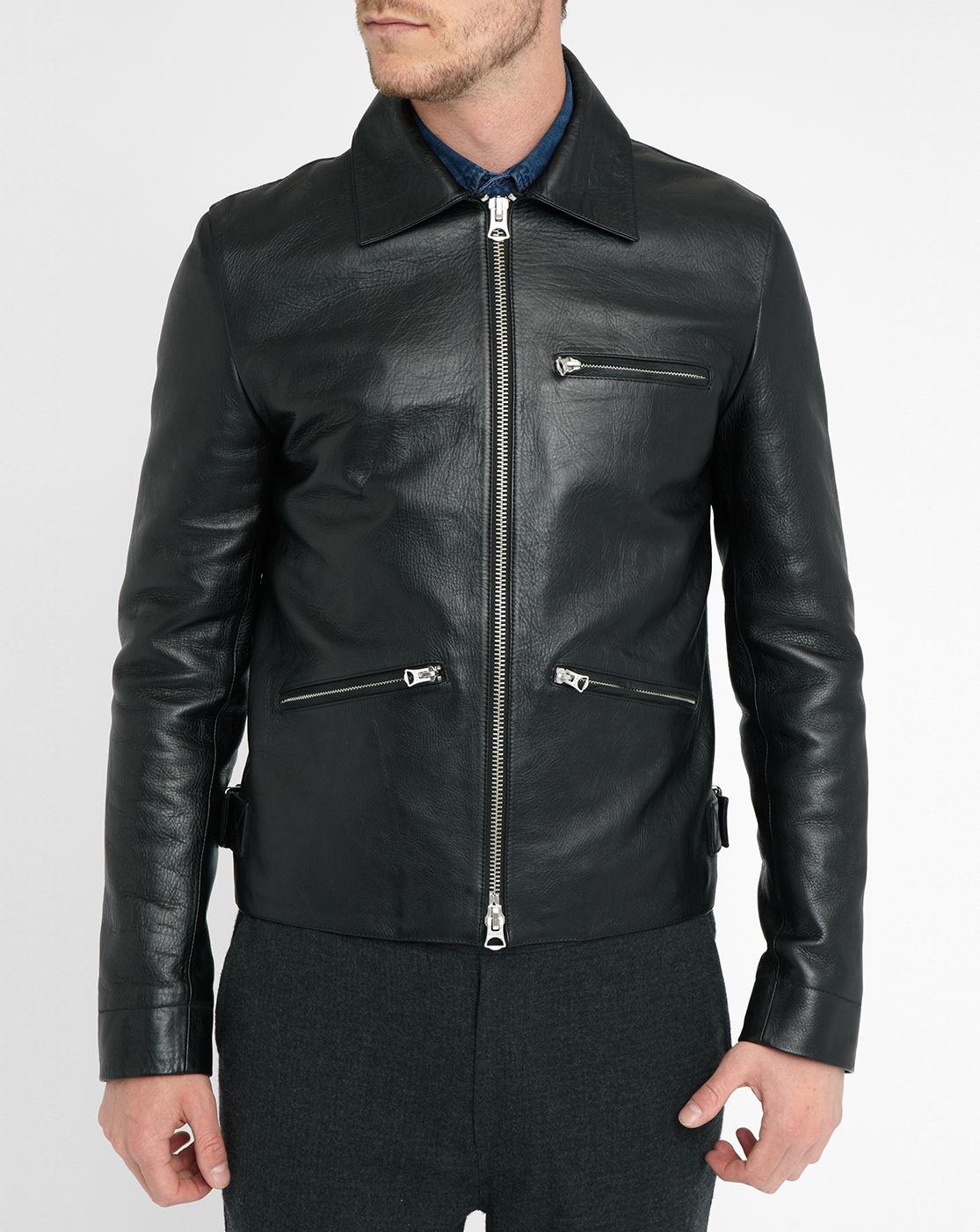 Acne Black August Leather Biker Jacket in Black for Men | Lyst