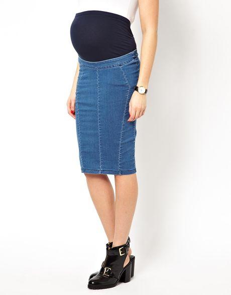 asos maternity denim seamed skirt in wash in