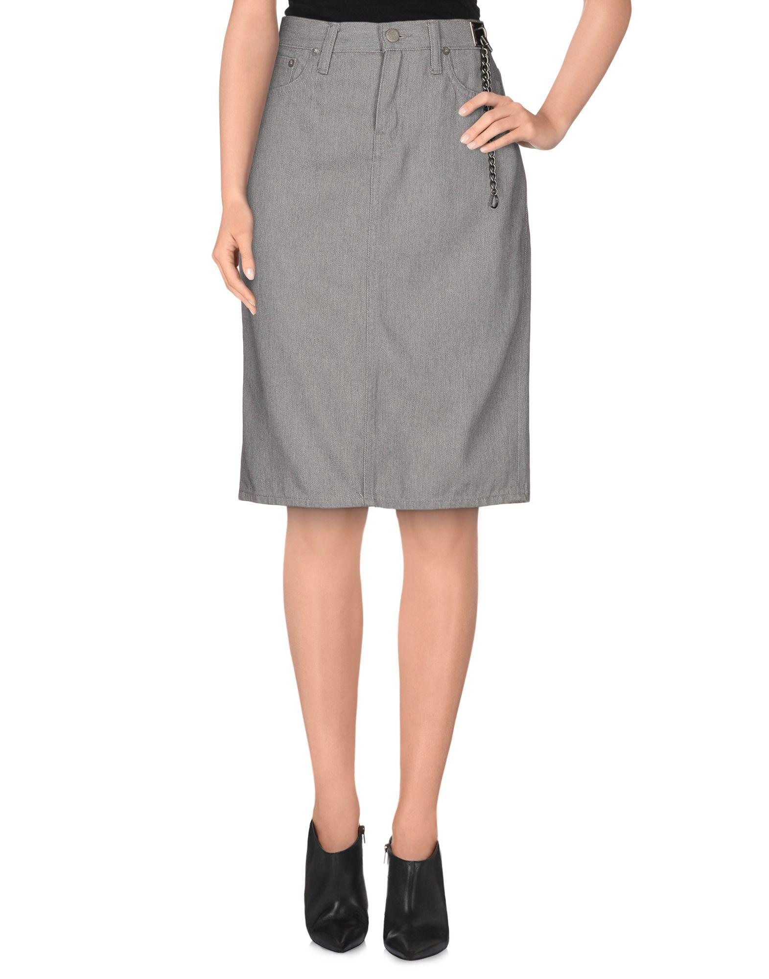 Ralph lauren Denim Skirt in Gray | Lyst