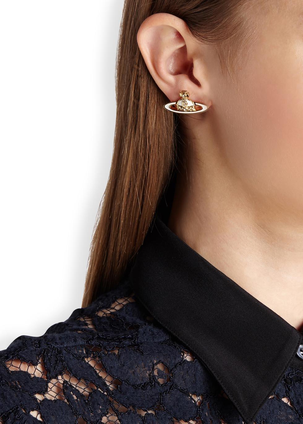 Vivienne Westwood Metallic Small Neo Bas Relief Orb Stud Earrings