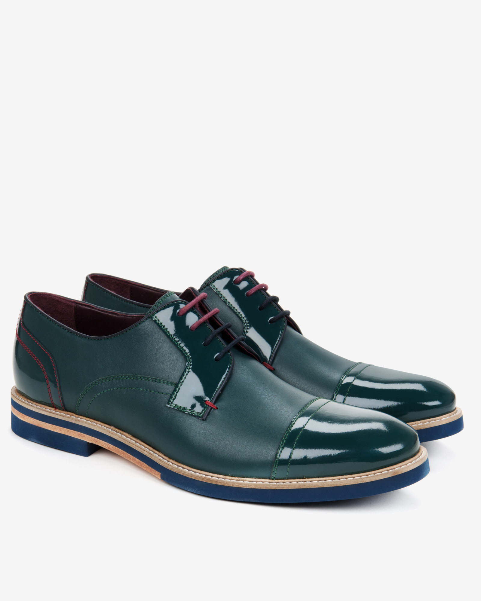 Ted Baker Men S Green Textured Derby Shoes Green